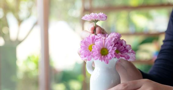 自然な曲線の花々